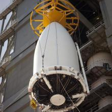 The Payload Fairing Being Lifted