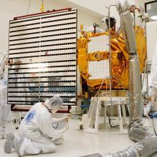 Solar Array Moving Toward the Spacecraft