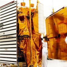 Lifting a Solar Array Toward the Spacecraft