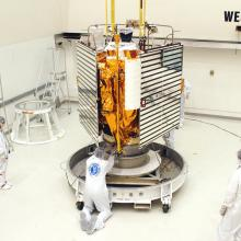 MESSENGER is Lifted onto a Transporter to be Moved to the Hazardous Processing Facility
