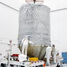 The Spacecraft is Covered for Transport to the Launch Pad