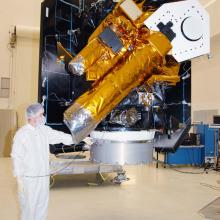 Spacecraft Being Moved for Initial Inspections