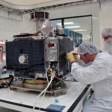 Technicians Working on a THEMIS Spacecraft