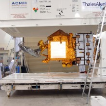 Uncrating OSTM at Astrotech's Vandenberg Facility