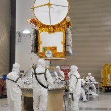 Workers Lift the Spacecraft onto the Payload Attach Fitting