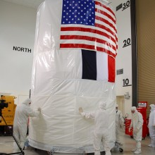 The Shipping Canister Being Prepped to Cover OSTM for Transport