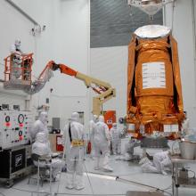 The Spacecraft Being Placed on a Stand for Fueling
