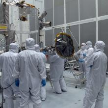 The LRO Spacecraft Undergoing Post-Transport Cleaning