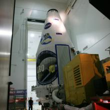 The Payload Fairing Prepares to Leave Astrotech's Facility