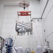 Lifting the Spacecraft onto a Work Station
