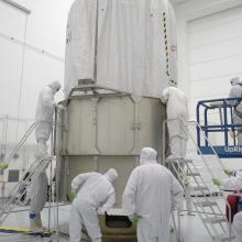 Technicians Prepare the Spacecraft for Transport