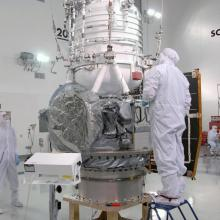 WISE Being Prepared to Move from the Test Stand to the Payload Attach Fitting