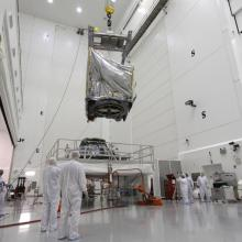 Lifting the Spacecraft onto a Work Stand