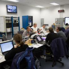 Team Members Monitor the Spacecraft from the Control Room