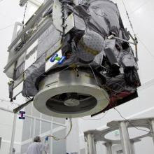 GOES-P Satellite During a Lift