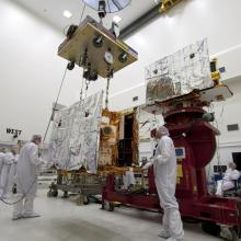 Lifting the Twin Spacecraft to Work Stands