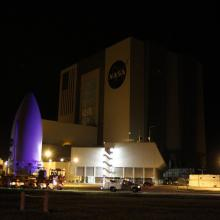 JUNO Passing by NASA's VAB on its Way to the Launch Pad