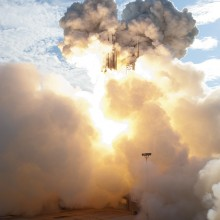 Plumes of Smoke Surround the Delta II Rocket as it Lifts off Carrying NASA's Twin GRAIL Spacecraft