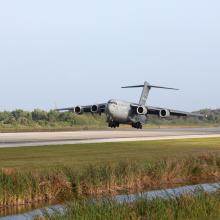 NASA's Twin RBSP Spacecraft Landing at the SLF via C-17