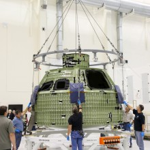 MFS in NASA's O & C with NASA's Orion Mockup Capsule (Credit: NASA)