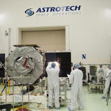 Solar Array Inspections in Astrotech's Cleanroom
