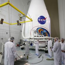 Preparing to Lift the Payload Fairing onto the Transporter