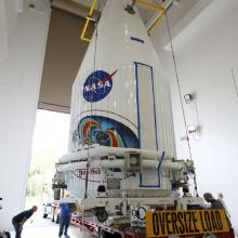 The Payload Fairing Sitting on Top of the Transporter