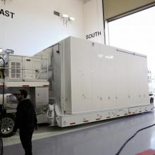 NASA's LDCM Spacecraft Arriving at Astrotech's VAFB Facility