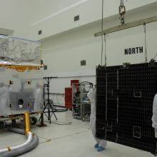 Solar Array Being Moved Toward the Telescope