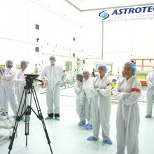 The Astrotech and JHU/APL Teams Watch ULA Technicians Encapsulate the Satellites