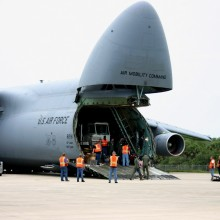 MUOS-2 Being Offloaded from a C-5 Aircraft at the SLF
