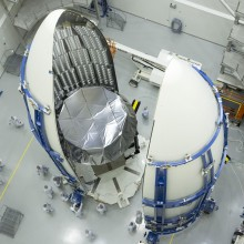 The Navy's MUOS-2 Satellite Being Encapsulated in a Protective Fairing at Astrotech's Florida Facility