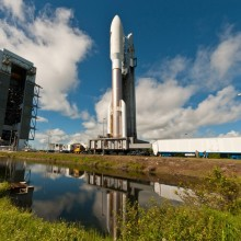 An Atlas V Rocket Rollsout with AEHF-3
