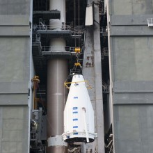 The Spacecraft Being Lifted Atop an Atlas V Launch Vehicle