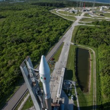 The Atlas V Rocket Being Rolled Out to the Launch Pad