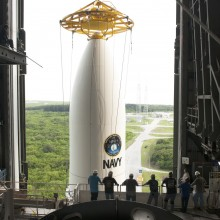 MUOS-4 Being Lifted Atop an Atlas V Rocket