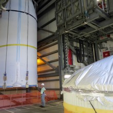WGS-6 Being Lifted Atop an Delta IV Rocket