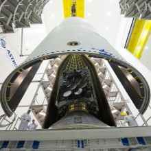 Encapsulation of WGS-7 Inside a Delta IV 5-Meter Payload Fairing