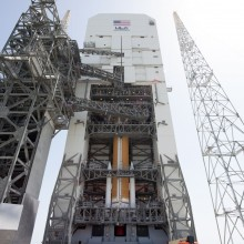 WGS-7 Being Lifted Atop a Delta IV Rocket