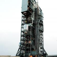MESSENGER Being Lifted on Top of a Delta II Rocket