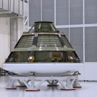Orion Mockup Capsule with Astrotech's MFS in NASA's Operations & Checkout Building (Credit: NASA)