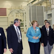 Lockheed Martin and NASA Personnel Accompany Joanne Maguire, Executive Vice President of Space Systems for Lockheed Martin, and Kennedy Space Center Director Bob Cabana in the O & C (Credit: NASA)